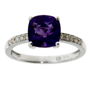 Amethyst and Diamond Accent White Gold Ring